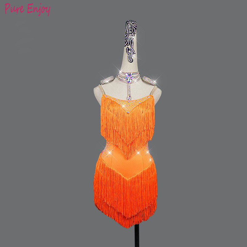 Custom Made Ballroom Dance Dress Women Latin Dance Competition Dresses Dancewear Children Sling Backless Rhinestone Tassel Dress