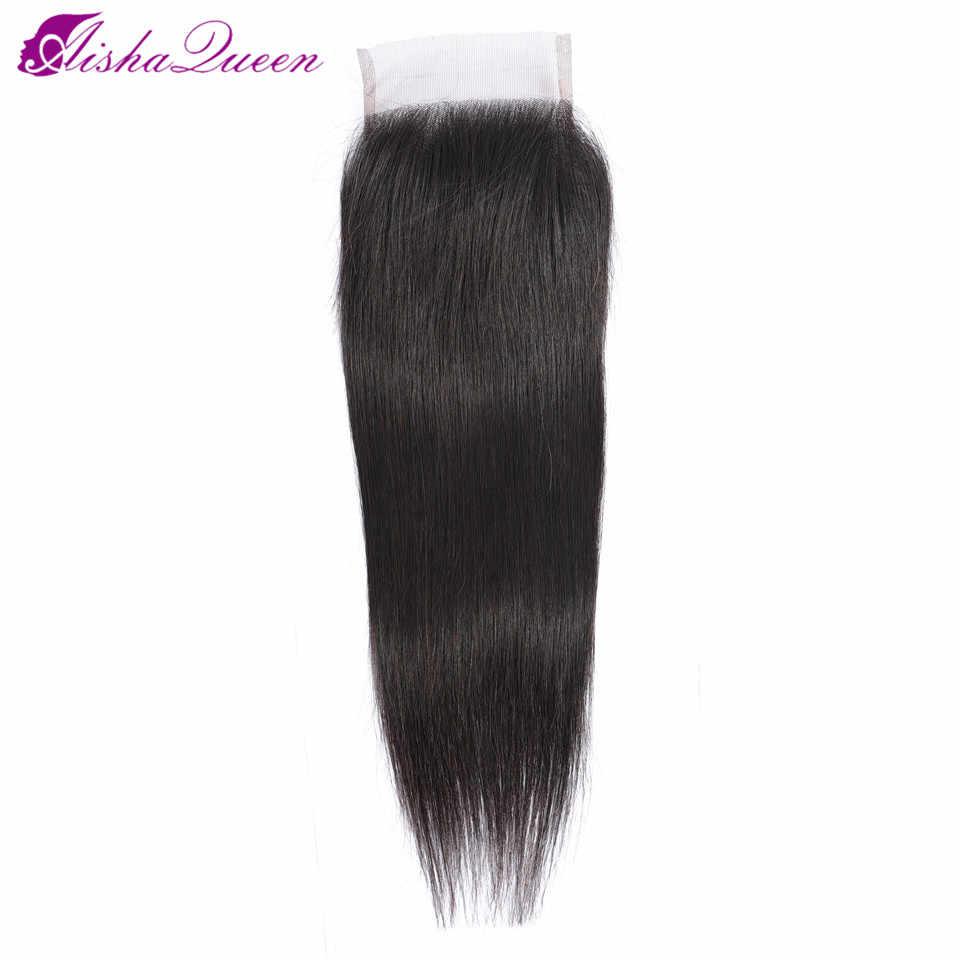 Aisha kraliçe 4*4 dantel kapatma ücretsiz/orta/üç bölüm İsviçre dantel orta kahverengi dantel renk kapaklar olmayan Remy brezilyalı saç