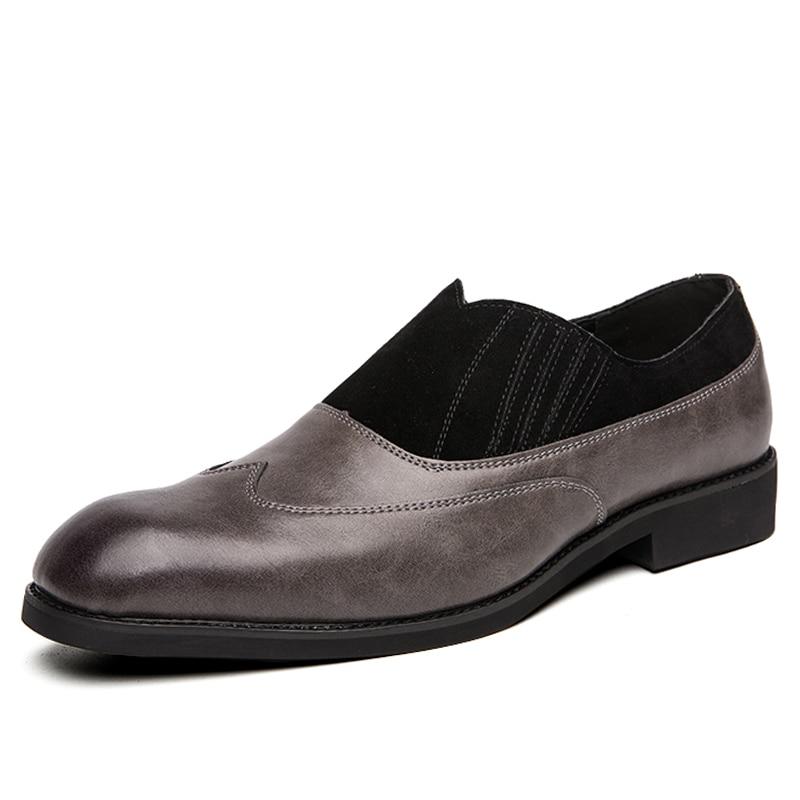TOSJC/Новые мужские лоферы, винтажные оксфорды с острым носком, Мужская Свадебная формальная обувь, дышащая обувь без шнуровки, деловая модельная обувь, большой размер 48 - Цвет: Gray
