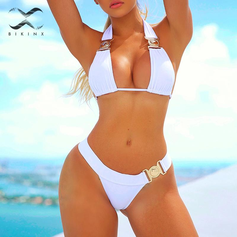 Vintage Triangle Bikini 2020 Mujer Rhinestone Swimsuit Push Up Halter High Cut Swimwear Women Brazilian Bikini Bathing Suit New