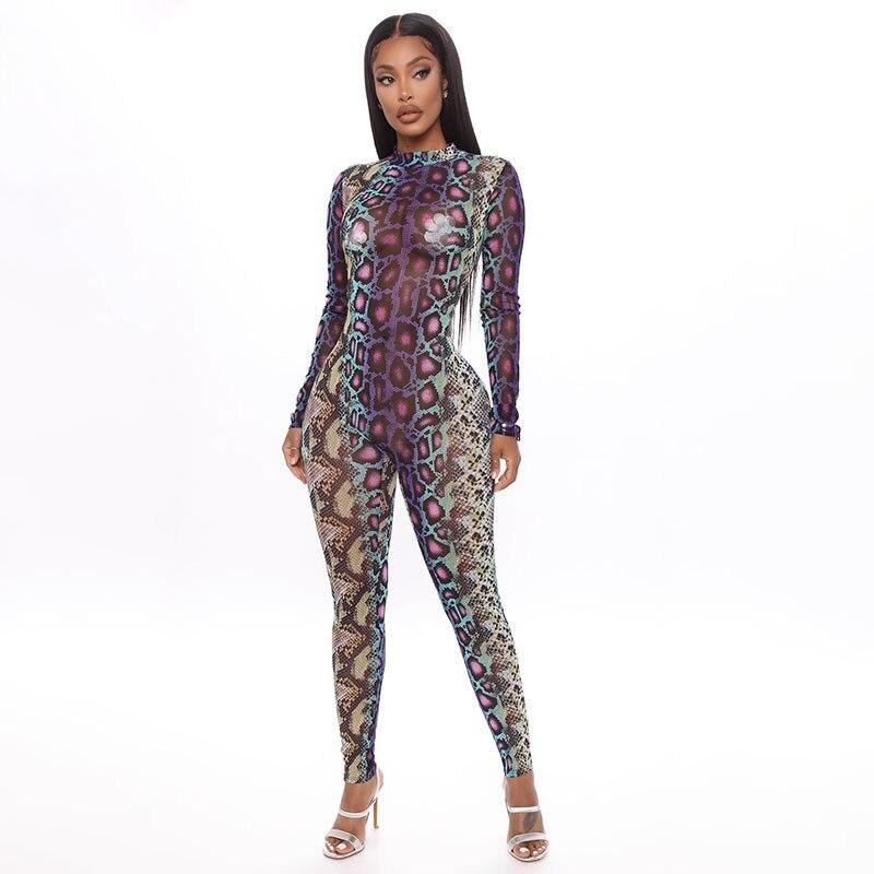 Womens Serpentine Print Round Neck Long Sleeve Slim Fit Pants Romper Jumpsuit Bodysuit