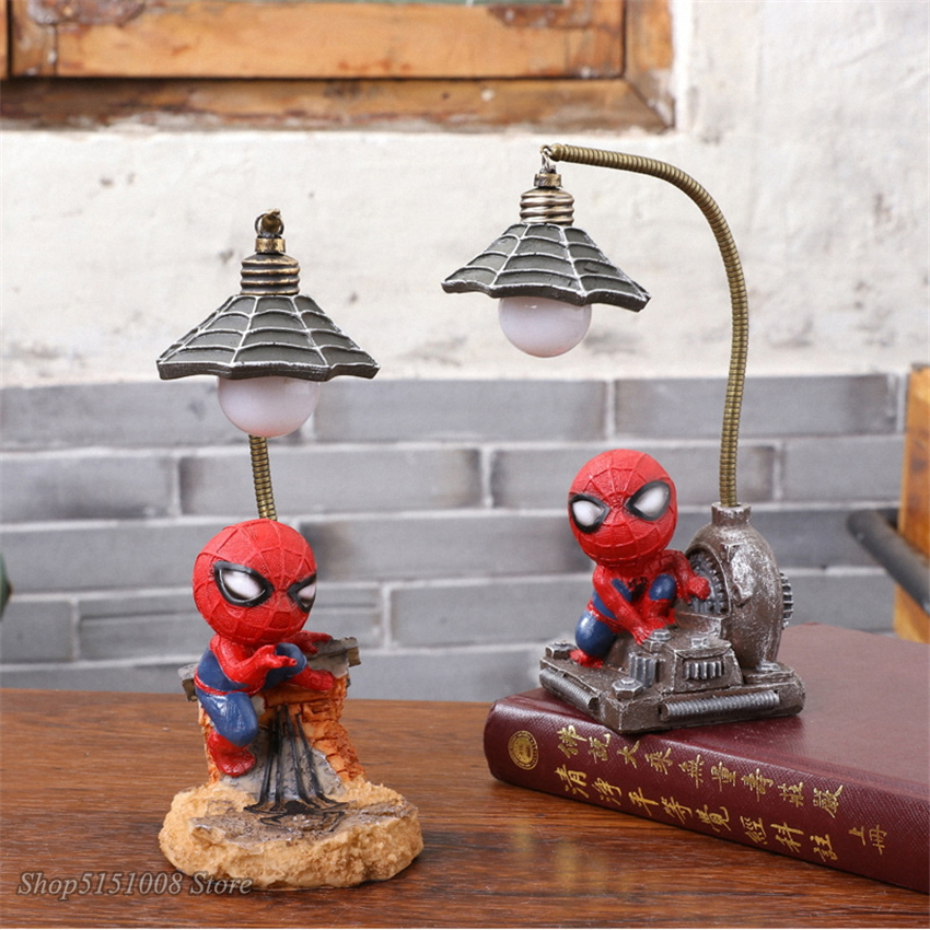 Cartoon Marvel Spider Man Avengers LED Night Light Table Night Lamp Resin Luminaire For Children Bedroom Bedside Kid's Gifts