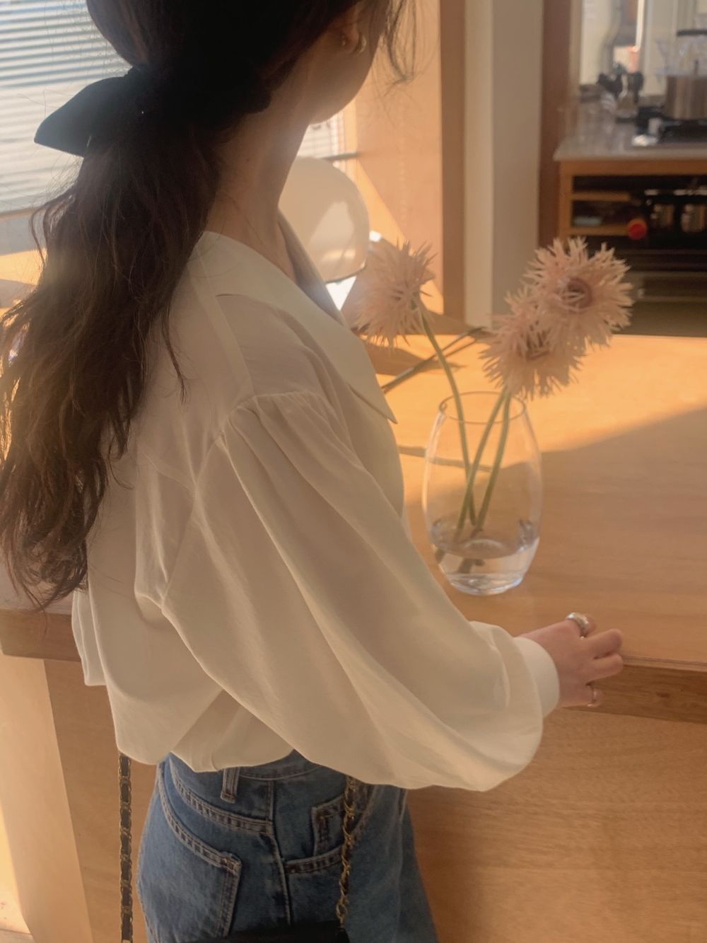 H694477dc5ba2464e90eebf7b8904e752t - Spring / Autumn Chelsea Collar Long Sleeves Solid Blouse