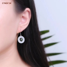 CYNSFJA Real Certified Natural Hetian Jade 925 Sterling Silver Fine Jewelry Peace Buckle  Jade Earrings High Quality Best Gifts
