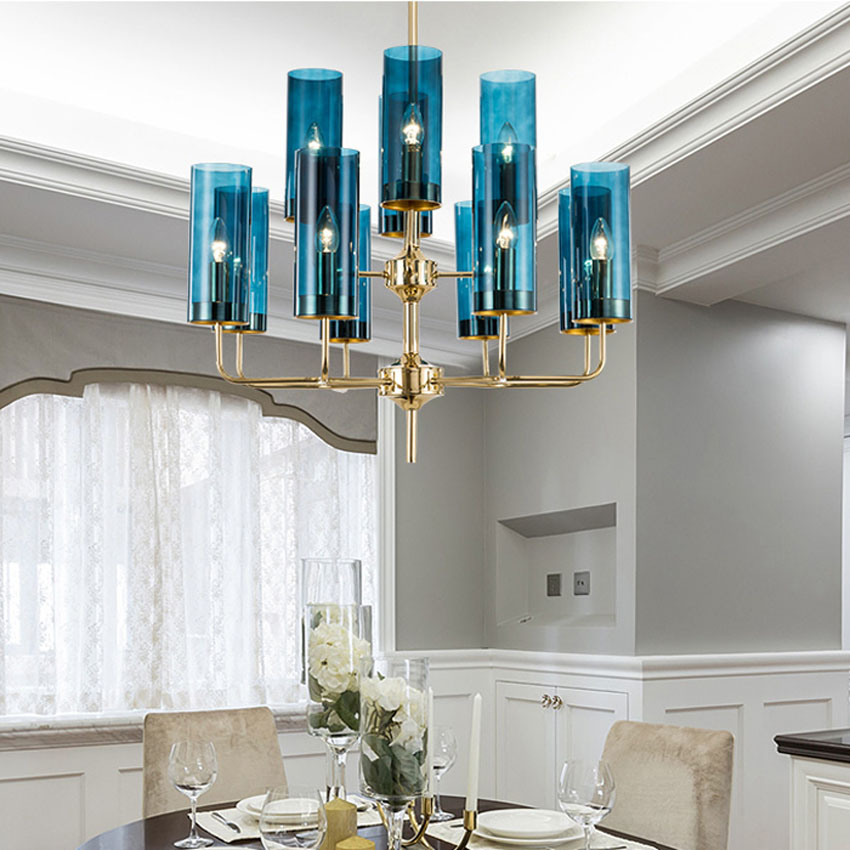 Modern luxury glass chandelier lighting 6-15 heads blue/Cognac nordic hang lamp living dining room bedroom indoor light fixture