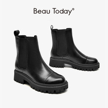 BeauToday Ankle Boots Chelsea Women Genuine Cow Leather Platform Bootie Elastic Band Autumn Winter Ladies Shoes Handmade 04422