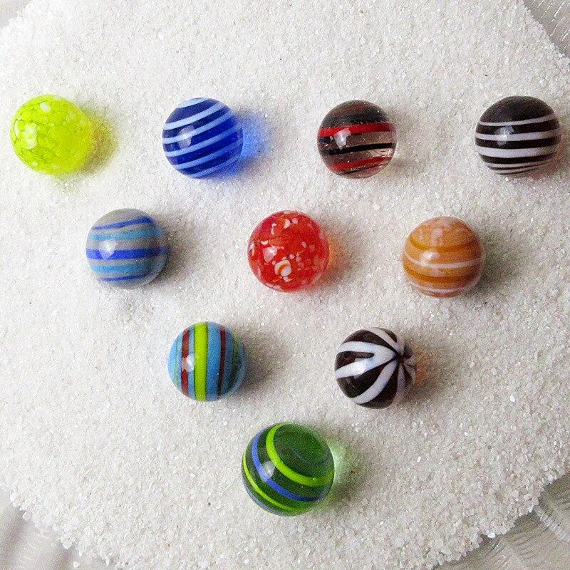 10 pçs personalizado multicolorido feito à mão bola de vidro fada decoração do jardim encantos bola de mármore de vidro ornamentos crianças jogo brinquedo presentes