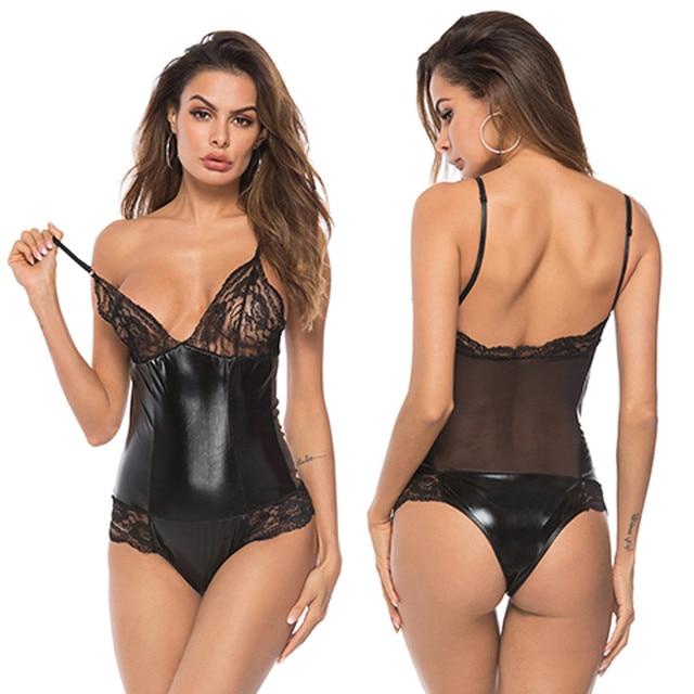 Plus Size Lace Leather Bodysuits  5