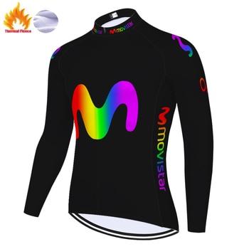 Movistar-maillot de ciclismo para hombre, jersey térmico de manga larga y polar...