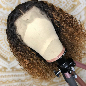 Image 4 - Ombre Blonde Curly Bob Lace Front Human Hair Wigs With Baby Hair Pre Plucked With Tpart Lace Wig Remy Brazilian Deep Middle Part