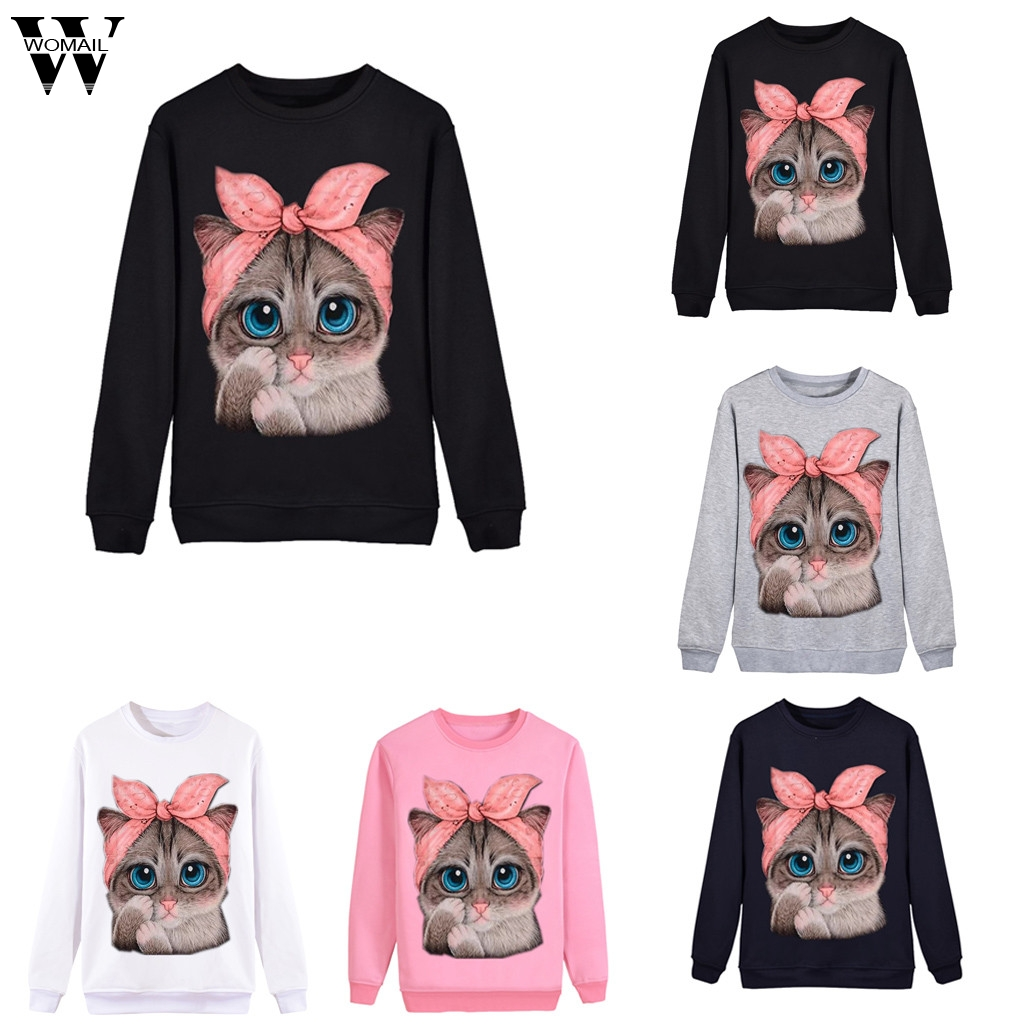 2020 Womail Sweatshirts Women's Casual Cat Print Long Sleeve O-Neck autumn Fashion Pullover O-Neck Short Mujer Women Sweatshirt
