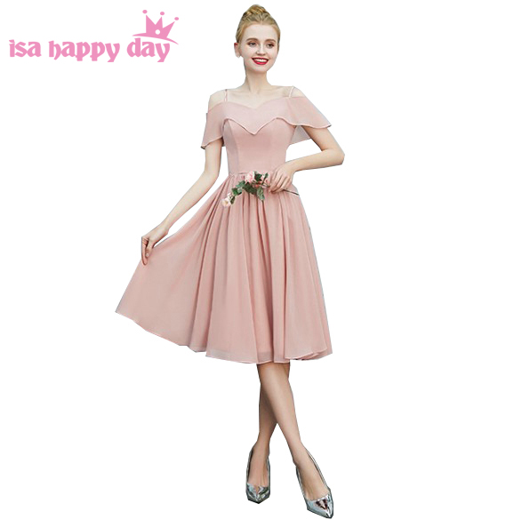robe de mariage simple blush short v neck strap a line formal cheap chiffon prom party dresses size 10 2020 for sweet 16 H4334