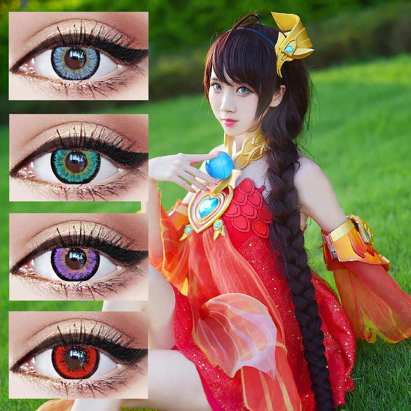 2 sztuk/1 para soczewki kontaktowe Cosplay okulary impreza z okazji Halloween kolorowe piękne uczeń kosmetyczne oko cukierki kolor makijaż
