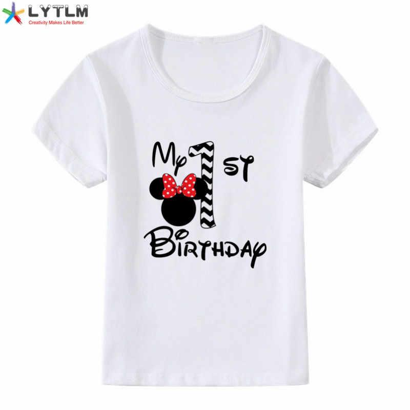 LYTLM أنيمي الملابس بلدي الأولى عيد ميلاد ملابس أطفال للبنات قمم طويلة الأكمام الكرتون تي شيرت طفل قمصان فتاة عيد ميلاد سعيد