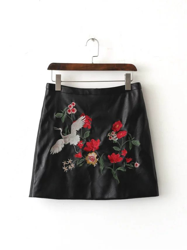 2016 Western Style Autumn And Winter WOMEN'S Dress New Style Western Style Embroidered PU Leather Skirt