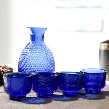 1 karafka 4 niebieskie szkło wina zestaw filiżanek młotek wzór siatki szafirowy niebieski niebieskie szkło Hip kolby zestaw prętów wina wino w butelce karafka tanie i dobre opinie CN (pochodzenie) ROUND CE UE Lfgb Kieliszek do wina Ekologiczne S31101 Wine Set Wine Pot Wine Glass Blue Blue + Gold Foil