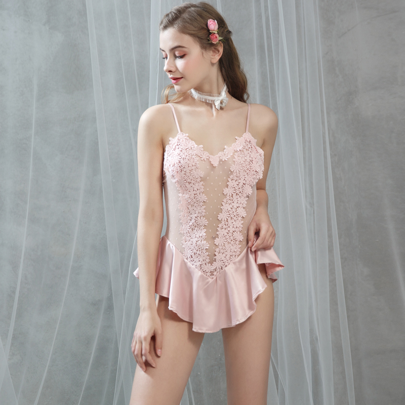 Yhotmeng 2019 new sexy cute lace perspective ice silk stretch wave princess dress sexy strap nightdress suit four colors in Robe Gown Sets from Underwear Sleepwears