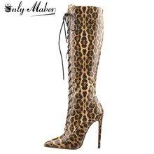 Onlymaker kadın sivri burun yan Zip 10 11CM yüksek topuk seksi leopar baskı Stiletto üzerinde streç diz dantel Up yüksek çizmeler