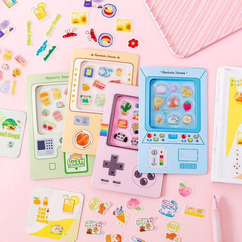 30 Pcs /Bag Game Console Design Crystal + Paper Cartoon DIY Decorative Stickers Decor Stick Label