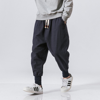 Cotton Harem Pants Men Solid Elastic Waist Streetwear Joggers 2020 New Baggy Drop-crotch Pants Casual Trousers Men Dropshipping 1