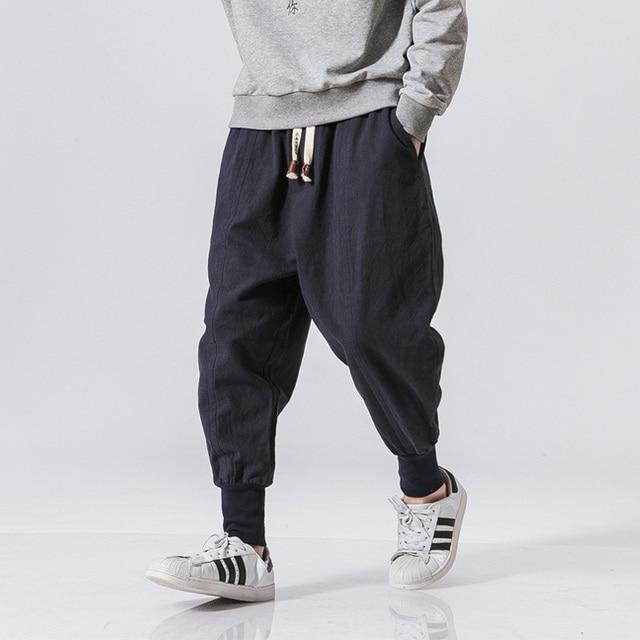 Cotton Harem Pants Men Solid Elastic Waist Streetwear Joggers 2020 New Baggy Drop-crotch Pants Casual Trousers Men Dropshipping