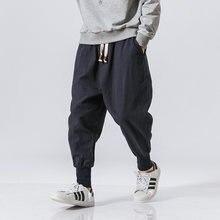 Bawełniane spodnie Harem mężczyźni jednolita elastyczna talia, moda uliczna biegaczy 2020 nowe workowate spodnie krocza spodnie typu Casual Men Dropshipping