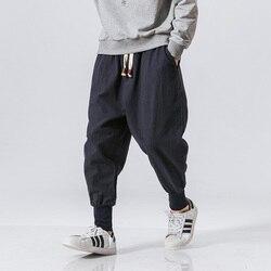 Sarouel en coton Hommes Taille Élastique Unie Streetwear Joggeurs 2020 Nouveau Baggy entrejambe bas Pantalon Pantalon Décontracté Hommes Livraison Directe