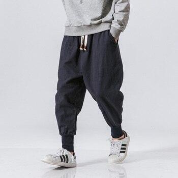 Pantalones de harén de algodón de los hombres liso elástico cintura moda de calle de 2020 nuevos pantalones gota-entrepierna pantalones casuales hombres Dropshipping. Exclusivo.