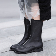 Shoes Phoentin Motorcycle-Boots Women's Boots Low-Heel Round-Toe Female Ladies Mid-Calf