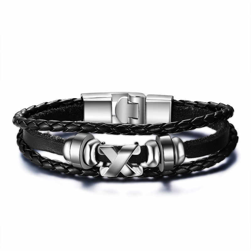 Vintage Men Leather Bracelet Playing Cards Charm Multilayer Braided Women Pulseira Masculina