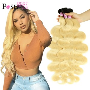 Two Tone Ombre Blonde Remy Brazilian Human Hair 1 3 4 Body Wave Bundles 8 - 32 inch 1B 613 Hair Color Weave Weft Free Shipping(China)