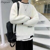 Männer Pullover Lose Oversize Gefälschte 2-Stück Winter Warme Gestrickte Pullover Männlichen Casual Mode Gespleißt Gemütliche Streetwear Kleidung Student