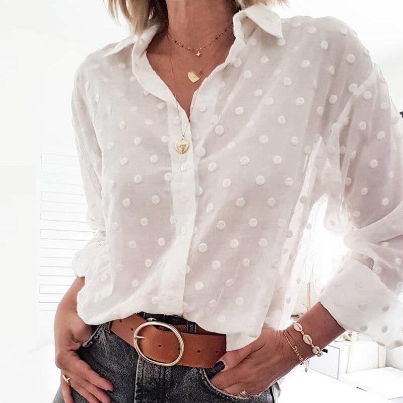 Mode femmes hauts et chemisiers élégant à manches longues blanc OL chemise dames à pois chemise femme blusa feminina Streetwear