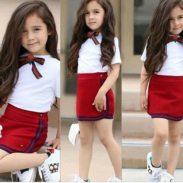 Pudcoco Summer Toddler Girl Clothing Littler Girls Bow Flower Uniform Tie T-shirt Short Mini Skirt  2PCS Outfits Clothes