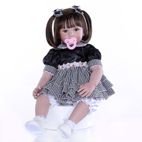 24 inch Lifelike Long hair braid girl reborn babies baby dolls silicone cloth Newborn toddlers real open eyes magnetic toys gift