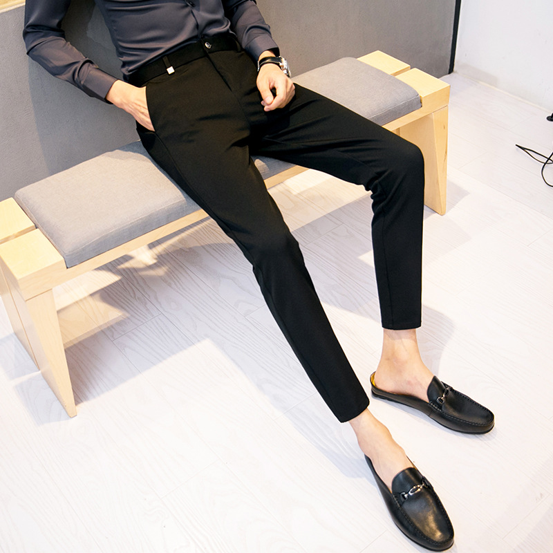 2019 New Style Korean-style Business Slim Fit Pants Casual Pants Men's Fashion British Style Hair Stylist Straight-Cut Capri Pan