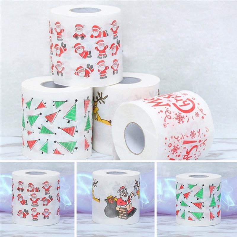 Christmas Themed Tissue Roll Cartoon Printed Toilet Paper Festival Paper Towel For Kitchen Bathroom (Santa Claus)