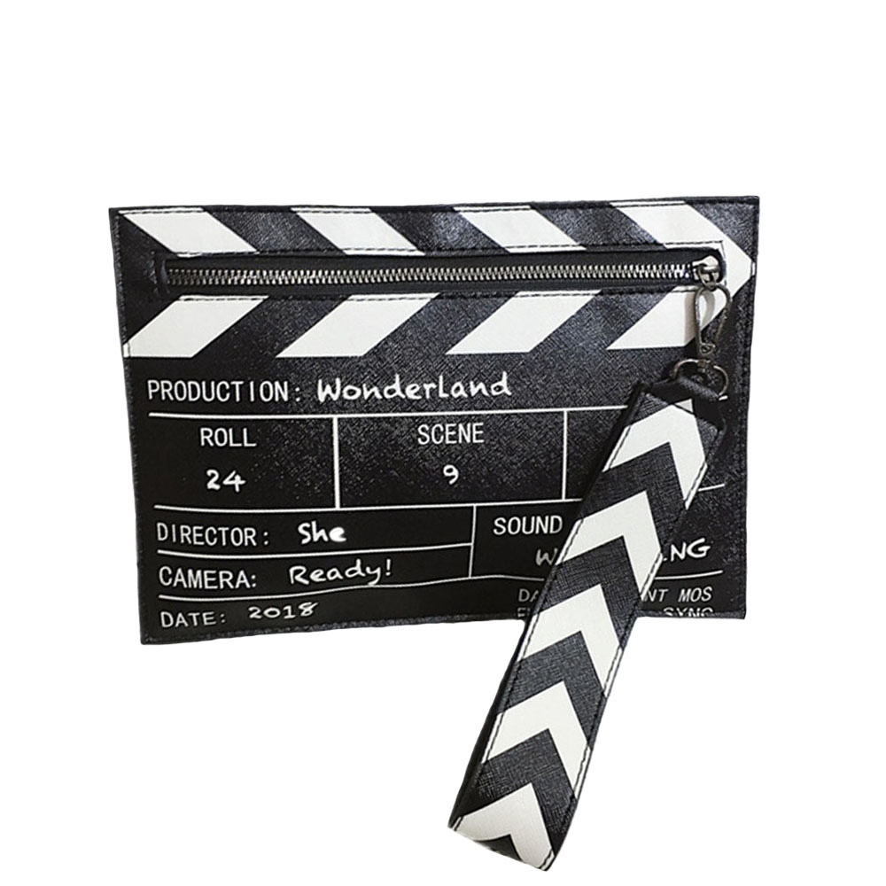 Black & White Fashion Clutch Fashion Wild hit Color Clutch Bag Coin Purse Movie Prop Design PU Leather Casual Women's Clutch Bag