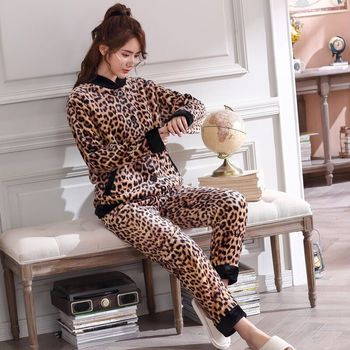 Winter Warm  Women Pyjamas Sets Leopard Thick Coral Velvet Flannel Long Sleeve Cartoon Sleepwear Homewear Pajamas Set for Girl winter thickened women pajamas sets warm women sleepwear flannel fleece velvet pyjamas female homewear pajama