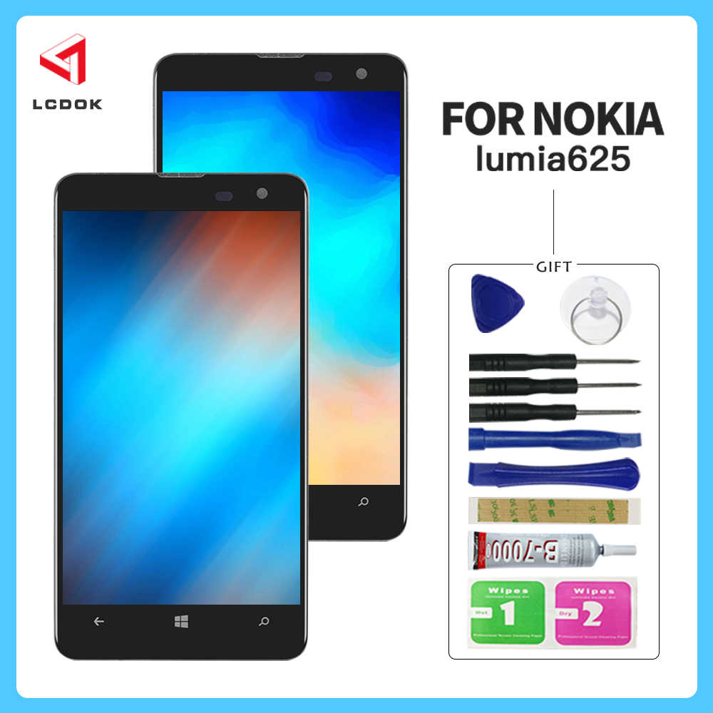 عالية الجودة شاشة لنوكيا Lumia 625 RM-941 RM-943 شاشة الكريستال السائل مجموعة المحولات الرقمية لشاشة تعمل بلمس لوحة استبدال أجزاء