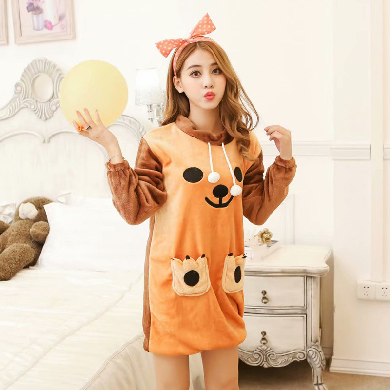 According To Feminine Pajamas Female Winter Casual Sweet Cute Cartoon Method Biscuit Bear Velvet Princess GIRL'S Loose Nightgown