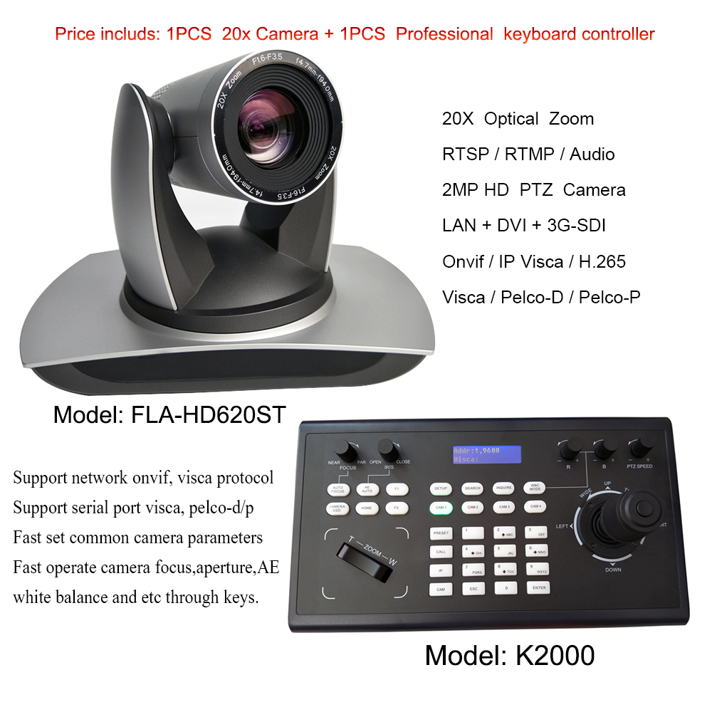 Professional Remote Controller HD broadcast live streaming video conference camera with 20x optical zoom image