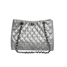 Handbag female 2019 new silver black brand design large capacity rhombic shoulder bag summer fashion chain slung tote