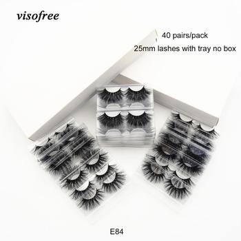 40 pairs/lot visofree 25mm lashes makeup 3d mink eyelashes 100% cruelty-free handmade extension lashes fluffy mink eyelashes E84