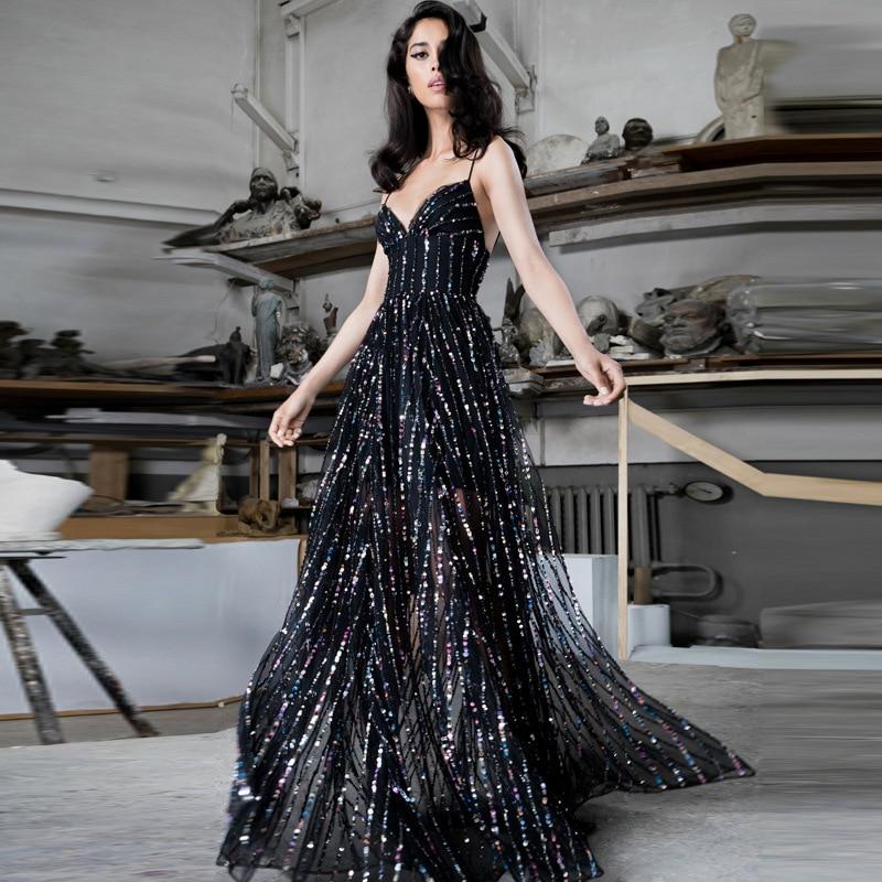 Linglewei New Spring and Summer Women's Dress sexy deep V slim dress long dress
