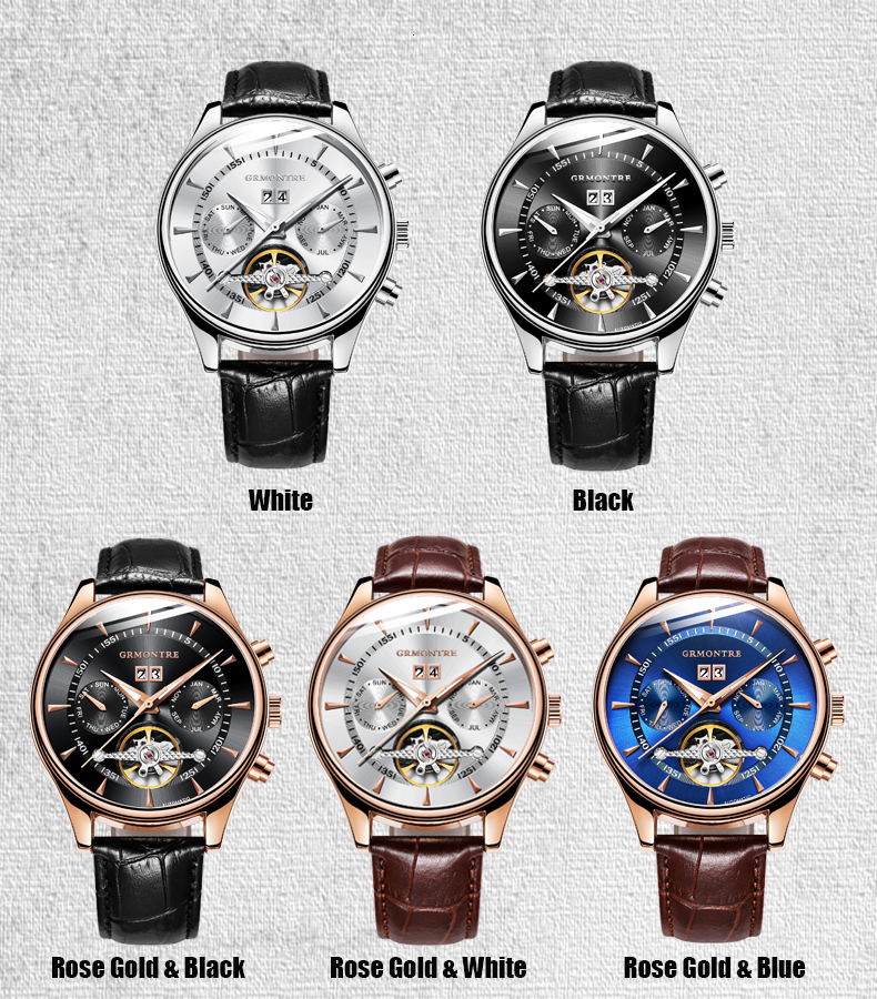 H694687d766c749c7aff6b0eb9094ecfdA Skeleton Tourbillon Mechanical Watch Men Automatic Classic Rose Gold Leather Mechanical Wrist Watches Reloj Hombre 2018 Luxury