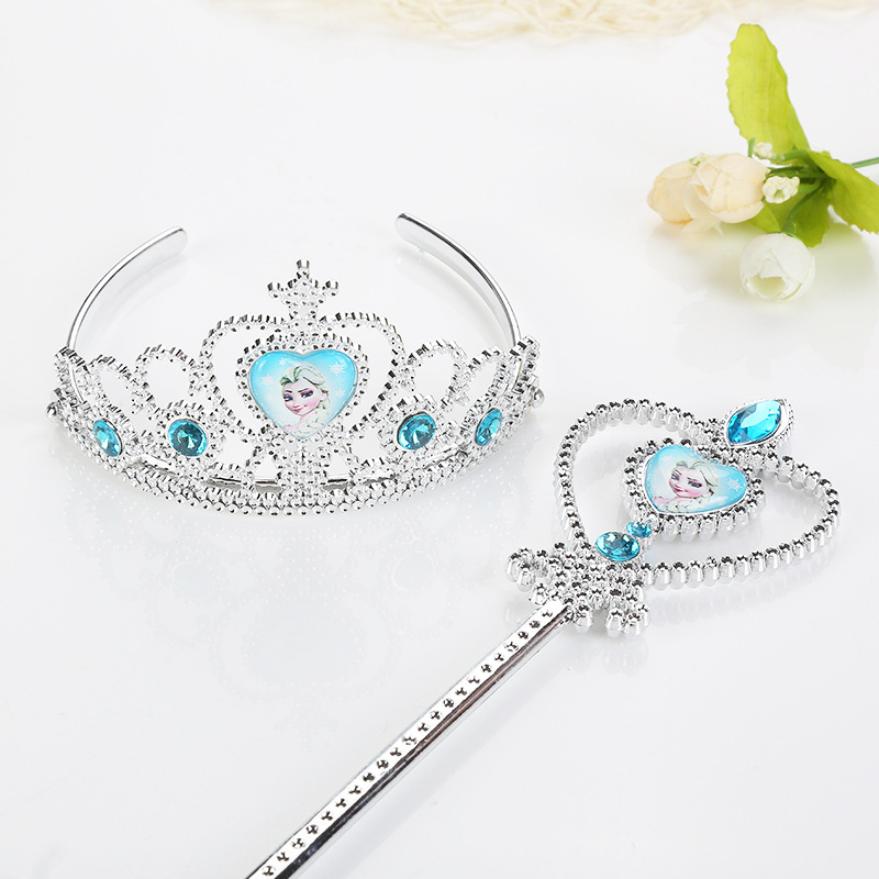 Children's Cosplay Toys Birthday Party Crown Frozen Crown Magic Wand Toys Sofia Elsa Princess Lovely Girls Kids Hair Accessories
