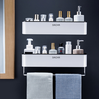 Bathroom Shelf Wall Mounted Shampoo Shower Shelves Holder Kitchen Storage Rack Organizer Towel Bar Bath Accessories 1