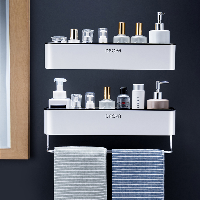 Bathroom Shelf Wall Mounted Shampoo Shower Shelves Holder Kitchen Storage Rack Organizer Towel Bar Bath Accessories image