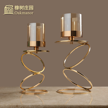 Metal Candle Holders Gold Wedding Decorations Modern Candle Holders Gold Centerpiece Photophore Verre Glass Candlestick B50